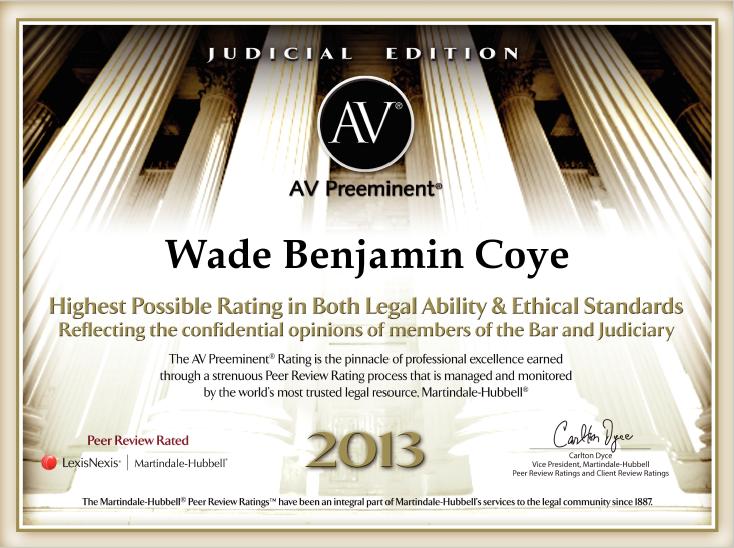 AV Preeminent 2013 - Judicial Edition | Coye Law Firm