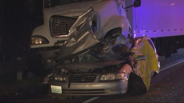 One Dead After Semi-Truck Rammed Car On I-5