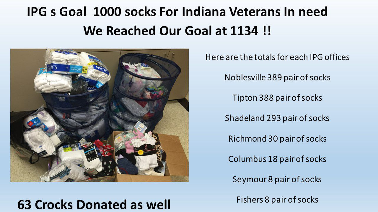 Thanks Everyone! for giving socks For Indiana Veterans In need